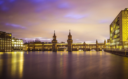 long term: Oberbaumbruecke over the river Spree at night, long term exposure, Berlin, Germany