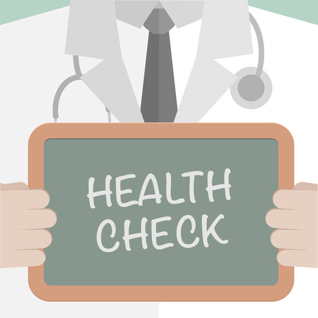 health check: minimalistic illustration of a doctor holding a blackboard with Health Check text