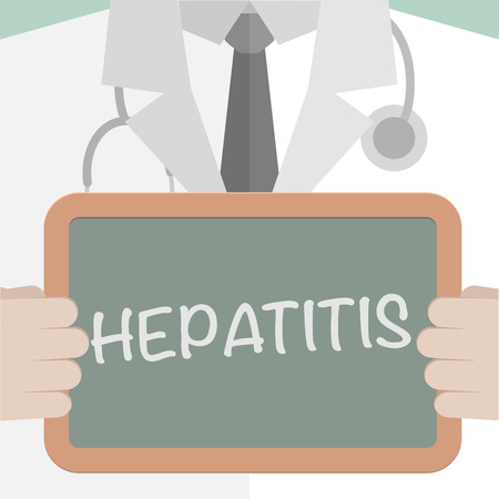 hepatitis a: minimalistic illustration of a doctor holding a blackboard with Hepatitis text, eps10 vector