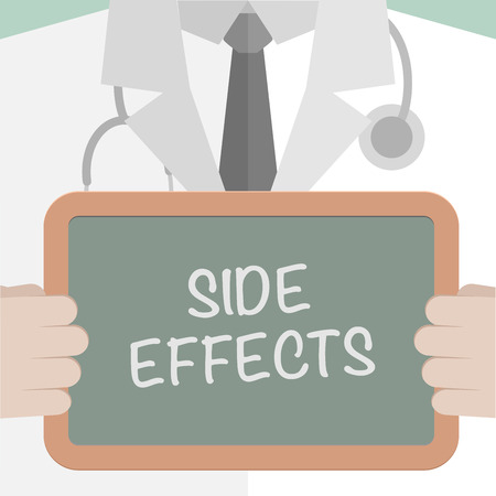 adverse reaction: minimalistic illustration of a doctor holding a blackboard with Side Effects text, eps10 vector Illustration
