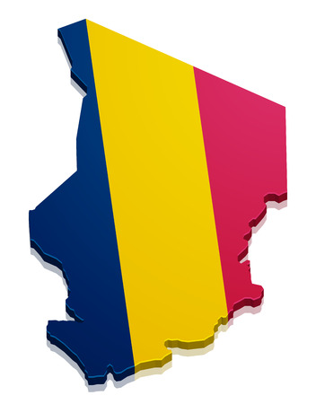 chadian: detailed illustration of a map of Chad with flag, eps10 vector Illustration
