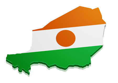 state boundary: detailed illustration of a map of Niger with flag