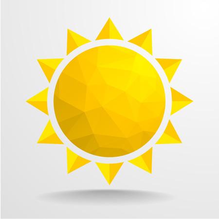 抽象的なポリゴン太陽の詳細なイラスト