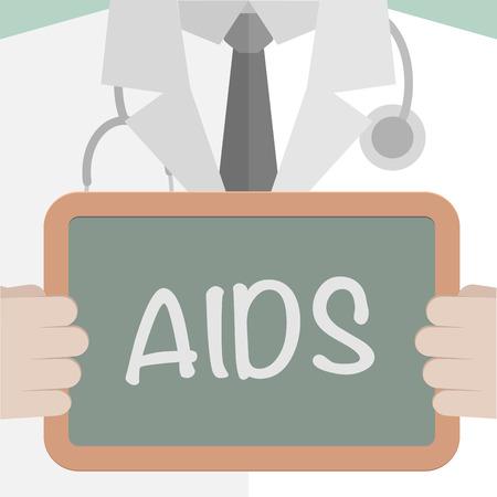 virus sida: ilustraci�n minimalista de un m�dico sosteniendo una pizarra con el texto XXXX