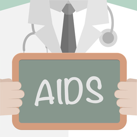 hiv aids: minimalistic illustration of a doctor holding a blackboard with XXXX text