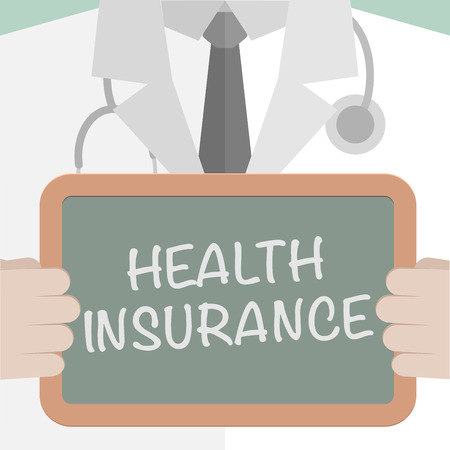 minimalistic illustration of a doctor holding a blackboard with Health Insurance text Vector