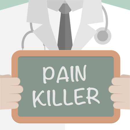 minimalistic illustration of a doctor holding a blackboard with Pain Killer text Vector
