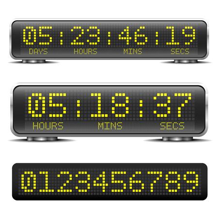 桁 LED デジタル LED カウント ダウン タイマーの詳細なイラスト  イラスト・ベクター素材