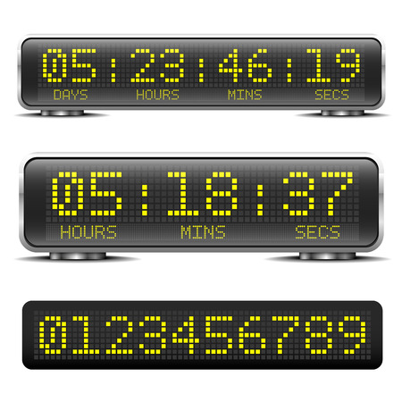 detailed illustration of a digital LED countdown timer with LED-Digits