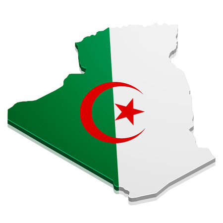 state boundary: detailed illustration of a map of Algeria with flag