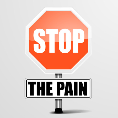 painkiller: detailed illustration of a red stop the pain sign Illustration
