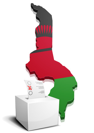 malawi flag: detailed illustration of a ballotbox in front of a map of Malawi, eps10 vector Illustration