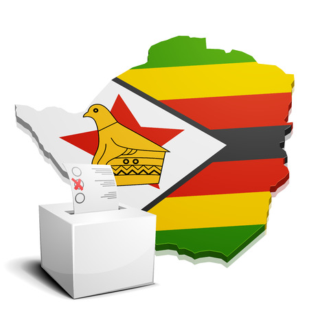 detailed illustration of a ballotbox in front of a map of Zimbabwe, eps10 vector Vector