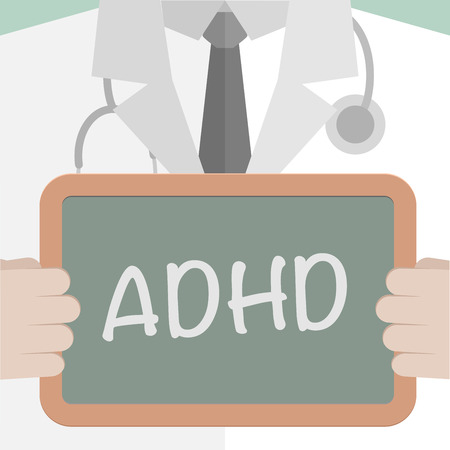adhd: minimalistic illustration of a doctor holding a blackboard with ADHD text, eps10 vector