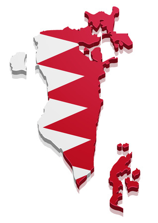 bahrain: detailed illustration of a map of Bahrain with flag, eps10 vector