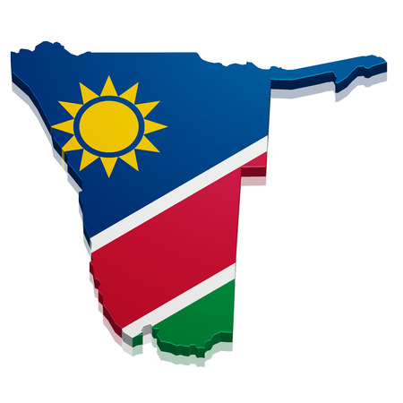 namibia: detailed illustration of a map of Namibia with flag, eps10 vector Illustration