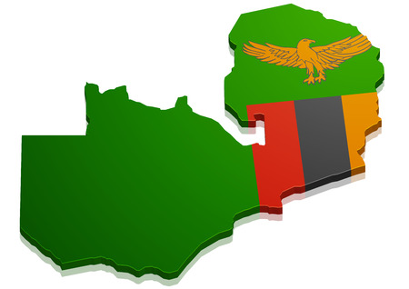 detailed illustration of a map of Zambia with flag, eps10 vector