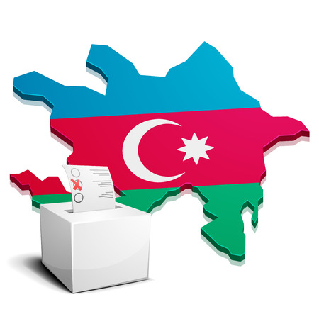 eurasian: detailed illustration of a ballotbox in front of a map of Azerbaijan, eps10 vector