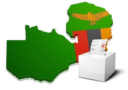 zambian: detailed illustration of a ballotbox in front of a map of Zambia, eps10 vector Illustration