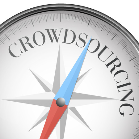 crowdsourcing: detailed illustration of a compass with crowdsourcing text, eps10 vector
