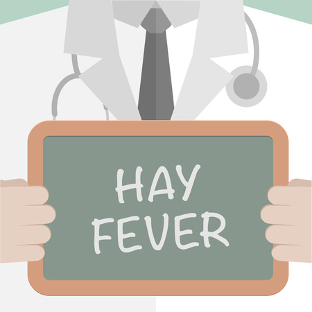 allergenic: minimalistic illustration of a doctor holding a blackboard with Hay Fever text