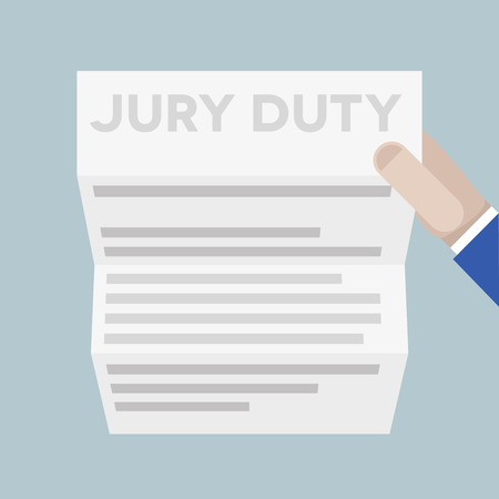 to sue: detailed illustration of a hand holding a sheet of paper with jury duty headline Illustration