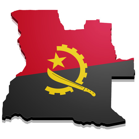 detailed illustration of a map of Angola with flag