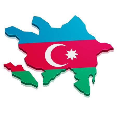 azerbaijani: detailed illustration of a map of Azerbaijan with flag