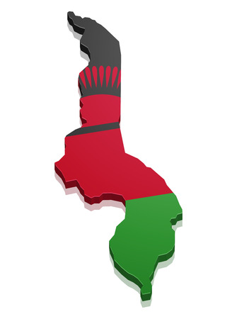 malawi: detailed illustration of a map of Malawi with flag