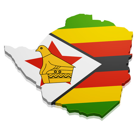 detailed illustration of a map of Zimbabwe with flag, eps10 vector Vector