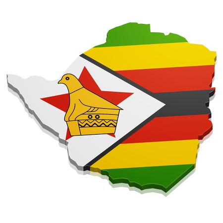 zimbabwe: ilustración detallada de un mapa de Zimbabwe con la bandera, vector eps10