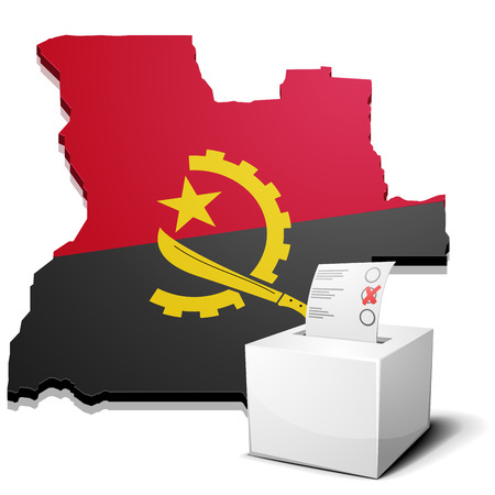 ballot box: detailed illustration of a ballotbox in front of a map of Angola