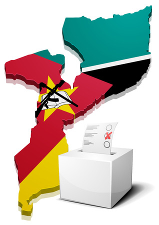 elect: detailed illustration of a ballotbox in front of a map of Mozambique