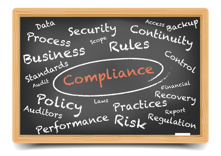 compliance: detailed illustration of a compliance wordcloud on a blackboard Illustration