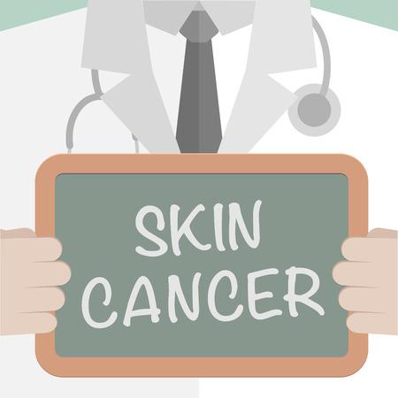 melanoma: minimalistic illustration of a doctor holding a blackboard with Skin Cancer text Illustration