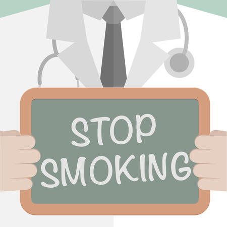 minimalistic illustration of a doctor holding a blackboard with Stop Smoking text
