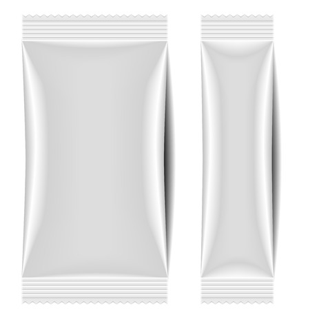 detailed illustration of a blank sachet packaging template Vectores