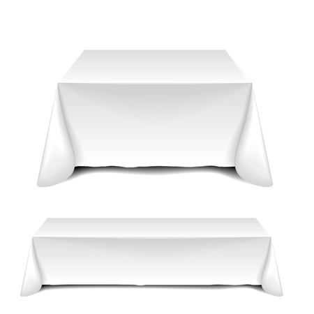 detailed illustration of blank white tables