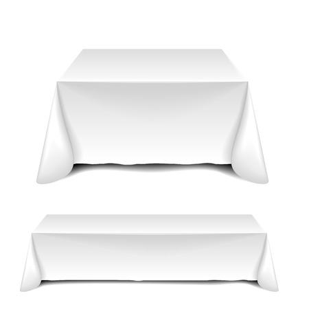 detailed illustration of blank white tables