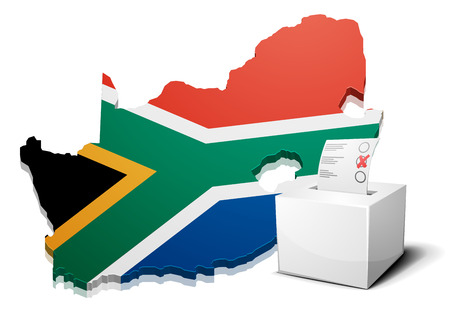 detailed illustration of a ballotbox in front of a map of South Africa Vector