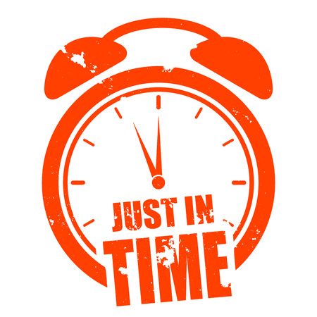just in time: minimalistic illustration of a grungy clock with just in time text, eps10 vector Illustration
