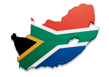 detailed illustration of a map of South Africa with flag, eps10 vector