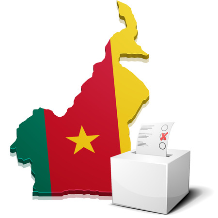 elect: detailed illustration of a ballotbox in front of a map of Cameroon,vector