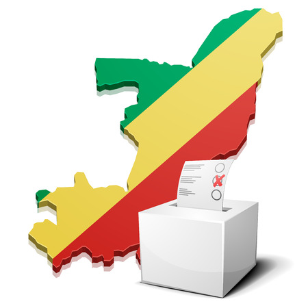 elect: detailed illustration of a ballotbox in front of a map of the republic of the Congo, vector