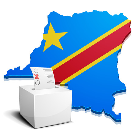 democratic: detailed illustration of a ballotbox in front of a map of the democratic republic of the congo, vector
