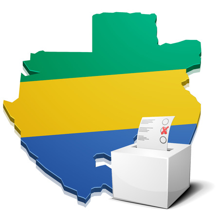 gabon: detailed illustration of a ballotbox in front of a map of Gabon,vector Illustration
