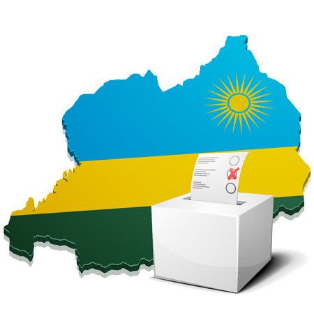 kigali: detailed illustration of a ballotbox in front of a map of Rwanda, vector Illustration