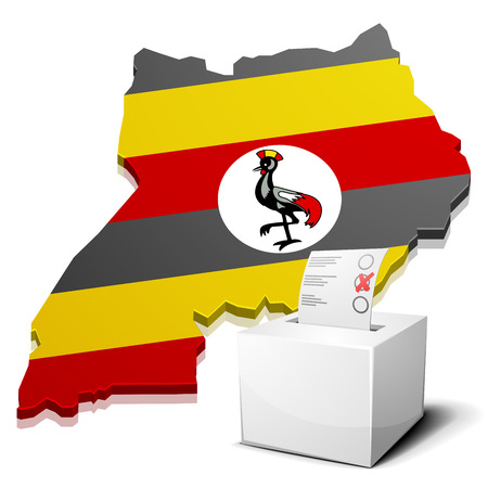 ugandan: detailed illustration of a ballotbox in front of a map of Uganda, vector