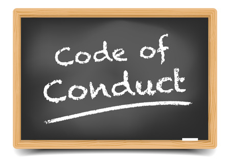 detailed illustration of a blackboard with Code of Conduct text, vector, gradient mesh included