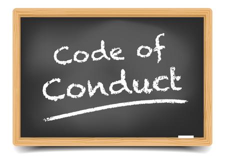valores morales: ilustración detallada de una pizarra con el Código de Conducta de texto, vector, de malla de degradado incluido